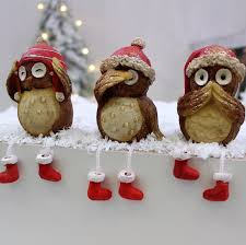 set of 3 christmas shelf sitting owl decorations love unique