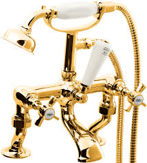 dorato prima cranked bath shower mixer in 24ct gold