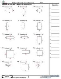 finding side length given perimeter 3rd grade worksheet lesson