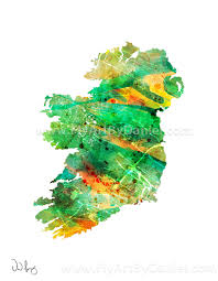 ireland map water color painting art by flyartbydaniel on etsy