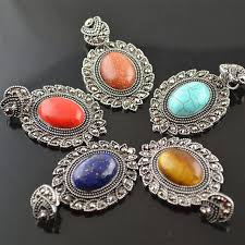 tibetan pendant necklace images Tibetan jewelry mix colors ancient silver color natural stone jpg