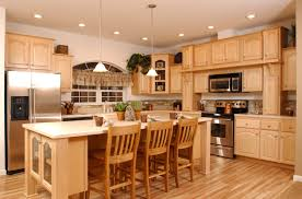 concrete countertops natural maple kitchen cabinets lighting