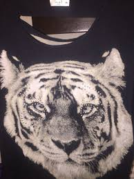 j usa semi sheer black white tiger with sequins and open back