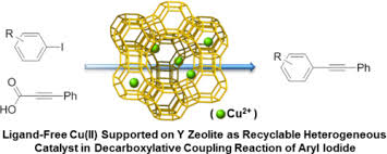 zeolite based copper catalyst for decarboxylative coupling of