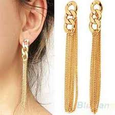 gold earrings uk new beautiful gold tone chunky chain tassel earrings uk seller
