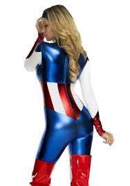 Captain America Halloween Costumes K128 Ladies Avengers Captain America Fancy Dress Bodysuit