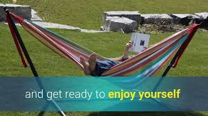 Outdoor Hammock With Stand Vivere Double Cotton Hammock With Space Saving Steel Stand 9ft