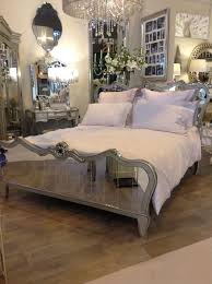Mirror Bed Frame Venetian Mirrored King Size Bed Frame With Chagne Trim