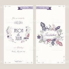 vector wedding invitation card in vintage boho style two sides