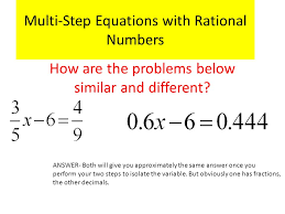 multi step equations with rational numbers how are the problems