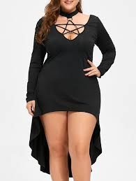 halloween plus size lace up cocktail dress in black 5xl