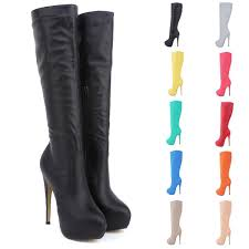 boot brand high heels knee wide leg stretch