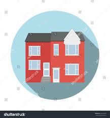 Duplex Building Duplex House Flat Icon Long Shadow Stock Vector 445272409