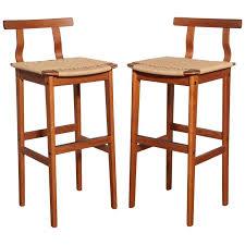 danish bar stools pair of 1960s danish modern teak and woven cord bar stools for sale