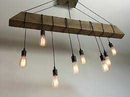 Wood Beam Light Fixture Reclaimed Barn Beam Light Fixture With Wrapped Lights