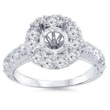 engagement ring settings only 1 00 cttw diamond halo engagement ring setting semi mount 14 karat