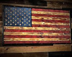 wooden american flag charred w color wooden flag us flag wood