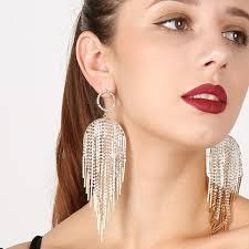 big ear rings images Retro rhinestone tassel earrings crystal luxury earrings large jpg