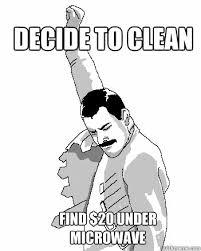 Clean House Meme - decide to clean house find 20 under microwave freddie mercury