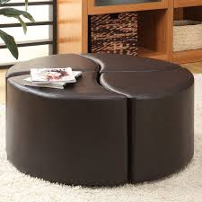 round leather tufted ottoman lovable round ottoman coffee table storage brown for leather plans