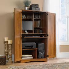 Sauder Harbor View Computer Desk With Hutch Salt Oak by Computer Storage Armoire Best Home Furniture Decoration