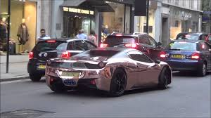 Ferrari 458 Gold - rose gold chrome ferrari 458 with armytrix exhaust revs and combos
