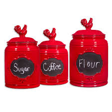 Ceramic Canisters Sets For The Kitchen Vintage Red Rooster Chalkboard Canister Set Of 3 At Home At Home