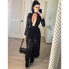 lace jumpsuits 2017 sleeve lace jumpsuit bodycon see