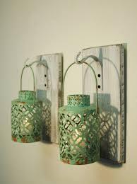 home decor lanterns shabby chic turquoise lantern pair candles included whitewashed