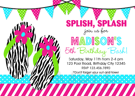 pool party birthday party invitations summer themed invite pool