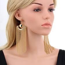 big ear rings gold color chain tassel drop dangle earrings for women big
