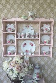 cabinet hanger wall plate shabby cottage chic pink wall curio cabinet plate rack hanging