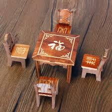 dollhouse miniature furniture wooden mini dining room table u0026 4