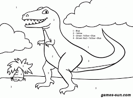 dinosaur color number coloring pages kids adults