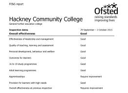 layout inspection report hackney community college first to be rated under new ofsted