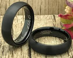 black wedding rings his and hers black wedding ring etsy