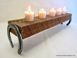 A Candle Holder Simply Country Life Horseshoes And A Chunk Of Wood Get A New Life