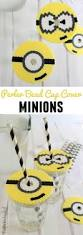 diy minion perler bead cup covers crafts unleashed cups