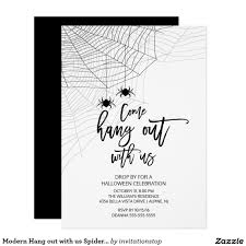 modern hang out with us spider halloween party card halloween