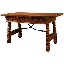 Spanish Style Dining Room Furniture by 18th Century Spanish Carved Walnut Three Drawer Table Desk And