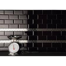 carrelage cuisine noir brillant faïence mur noir métro l 7 5 x l 15 cm leroy merlin