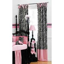 Zebra Curtain Panels Black And White Zebra Drapes With Trim Black White And Pink