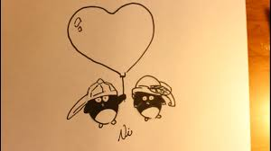 how to draw cartoon penguins in love valentine u0027s day drawing heart