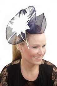hair fascinators large navy blue sinamay white comb fascinator hair fascinators