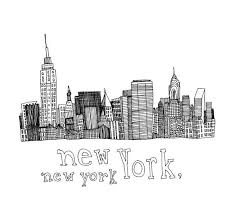 new york city skyline nyc empire state chrystler building ink