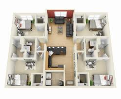Floor Plan Of Two Bedroom House by 50 Four U201c4 U201d Bedroom Apartment House Plans Architecture U0026 Design