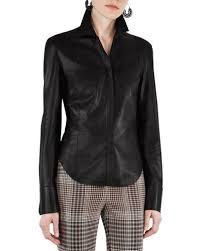 leather blouse fitted leather top neiman