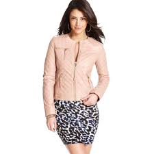 pink motorcycle jacket guess quilted faux leather motorcycle in pink lyst