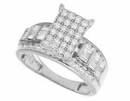 cinderella engagement ring 10k white gold real baguette diamond cinderella engagement