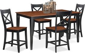 Black Dining Room Set Nantucket Counter Height Table And 4 Side Chairs Black And